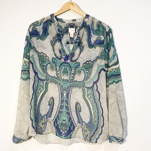 CHICO'S Paisley Popover Sheer Top